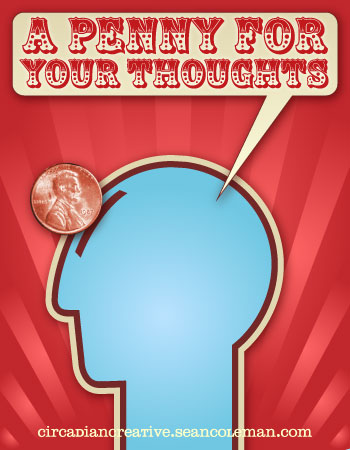 book cover design projet 21 - a penny for your thoughts